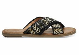 TOMS Black Geometric Woven Women's Viv Sandals - Size UK6.5