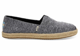 TOMS Black Tiny Chambray Dots Women's Espadrilles Shoes - Size UK7.5