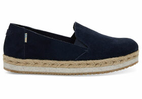 TOMS Navy Suede Women's Palma Espadrilles Shoes - Size UK7.5