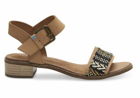 TOMS Honey Leather Geometric Woven Women's Camilia Sandals - Size UK10