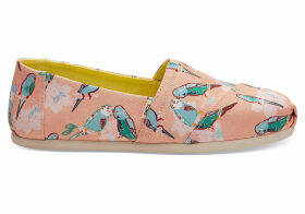 TOMS Coral Pink Kissy Birds Women's Classics Slip-On Shoes - Size UK6.5