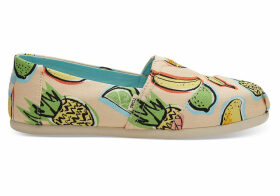 TOMS Coral Pink Cuban Fruits Women's Classics Slip-On Shoes - Size UK3.5