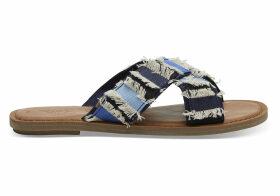 TOMS Navy Coupe Denim Women's Viv Sandals - Size UK9