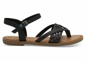 TOMS Black Leather With Synthetic Braid Strap Women's Lexie Sandals - Size UK5.5