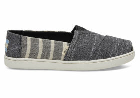 TOMS Black Cabana Stripes Youth Classics Slip-On Shoes - Size UK12
