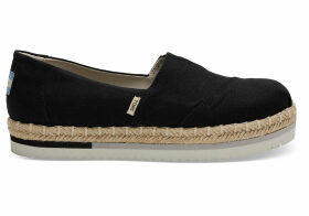TOMS Black Canvas Platform Women's Alpargatas Shoes - Size UK10