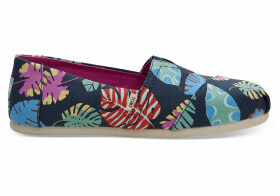 TOMS Navy Tropical Leaves Women's Classics Slip-On Shoes - Size UK3.5