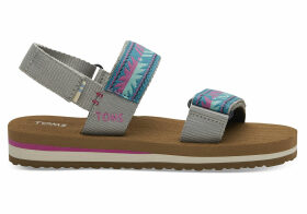 TOMS Drizzle Grey Global Webbing Youth Ray Sandals - Size UK13.5