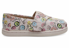 Pink Donuts Print Tiny TOMS Classics Slip-On Shoes - Size UK10