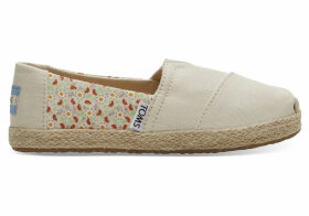 TOMS Beige Local Floral Print Rope Youth Classics Slip-On Shoes - Size UK3
