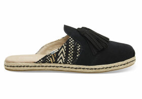 TOMS Black Suede And Geometric Woven With Tassel Women's Nova Slip-On Espadrilles Shoes - Size UK7.5