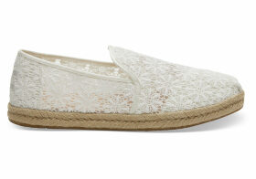 TOMS Natural Floral Lace Women's Deconstructed Alpargatas Shoes - Size UK4