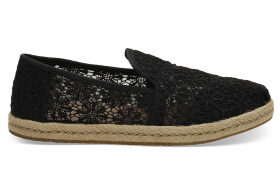 TOMS Black Floral Lace Women's Deconstructed Alpargatas Shoes - Size UK9