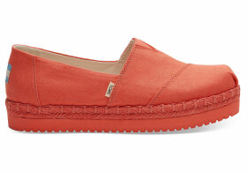 TOMS Persimmon Canvas Women's Platform Alpargatas Shoes - Size UK8