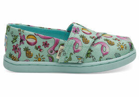 Green Poolside Floaties Print Tiny TOMS Classics Slip-On Shoes - Size UK9