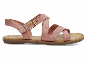 TOMS Coral Pink Shimmer Canvas Women's Sicily Sandals - Size UK7.5