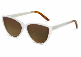 TOMS Josie Pearl White Solid Brown Lens Sunglasses with Brown Gradient Lens