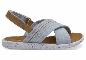 Light Blue Chambray Deco Stitch Tiny TOMS Viv Sandals - Size UK3