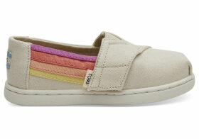 Beige Horizon Canvas Tiny TOMS Classics Slip-On Shoes - Size UK3