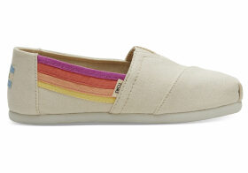 TOMS Beige Horizon Canvas Youth Classics Slip-On Shoes - Size UK3.5