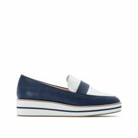Faux Leather Two-Tone Flatform Loafers