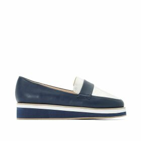 Wide Fit Two-Tone Faux Leather Flatform Loafers