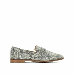 Leather Snakeskin Effect Beaded Loafers
