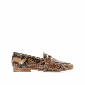 Snake Print Leather Loafers