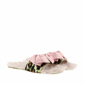 Miu Miu Sandals - Leopard Jacquard Shearling Slides Pink - rose - Sandals for ladies
