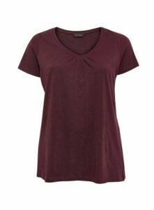 Plum V-Neck Cotton T-Shirt, Purple