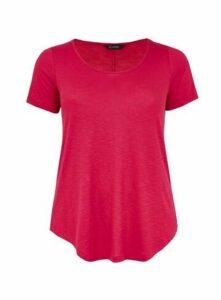 Pink Scoop Neck T-Shirt, Pink