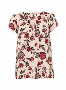 Pink Floral Print Shell Top, Pink