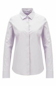 Portuguese-made blouse in paper-touch stretch cotton