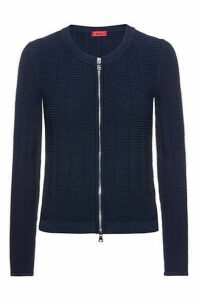 Knitted jacket in waffle-structured super-stretch fabric