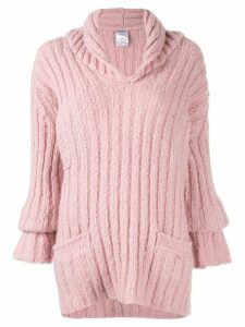Chanel Pre-Owned ribbed knit jumper - PINK
