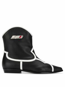 MSGM contrast trim western boots - Black