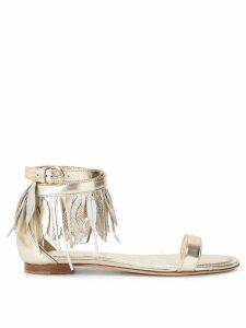 Tod's feather appliqué sandals - GOLD