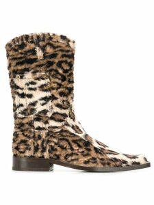 Martine Rose leopard print cowboy boots - Neutrals