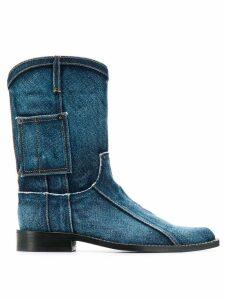 Martine Rose denim Cowboy boots - Blue