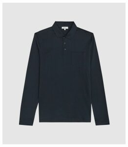 Reiss Robbie - Mercerised Cotton Polo Shirt in Navy, Mens, Size XXL