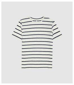 Reiss Denby - Striped Crew Neck T-shirt in Navy/ecru, Mens, Size XXL