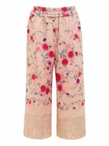 By Walid - Dania Cropped 19th-century Silk Trousers - Womens - Pink Multi