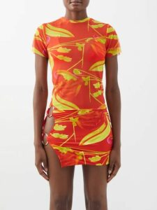 Aje - Astrid Neck Scarf Hammered-silk Blouse - Womens - Camel
