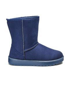 Warm Lined Pull On Ankle Boots E Fit