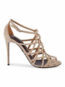 Netted Suede Stiletto Sandals
