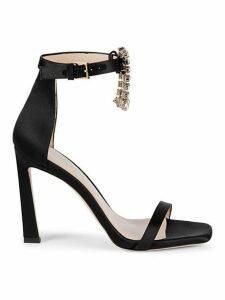 Fringed Jewel Satin High-Heel Sandals