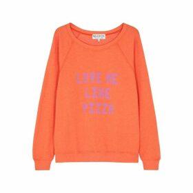 Wildfox Sommers Orange Printed Jersey Sweatshirt