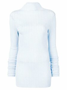Jil Sander checked high-neck blouse - Blue