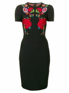 Alexander McQueen floral embroidered dress - Black
