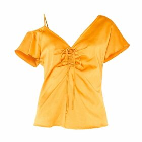 PAISIE - V-Neck Asymmetric Shoulder Top With Gathered Details In Rustic Orange